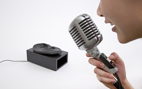 When a person presses the button and the microphone detects sound of amplitude higher than a set threshold, a person's voice is recorded and stored as a sound loop.